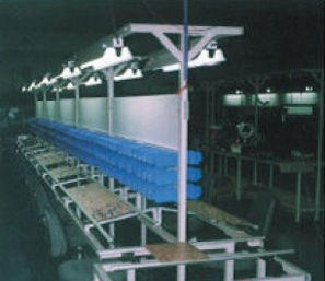 INSERTION WORK STATION WITH MANUAL FREE FLOW CONVEYOR AND BIN HOLDING FIXTURE